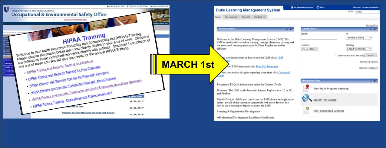 HIPPA Migrating to the LMS on March 1st